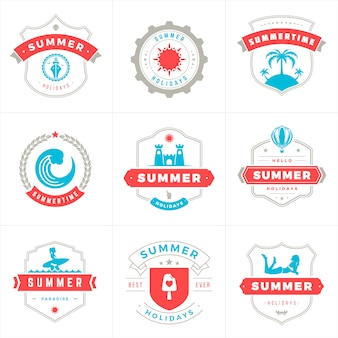Summer holidays labels and badges typography vector design