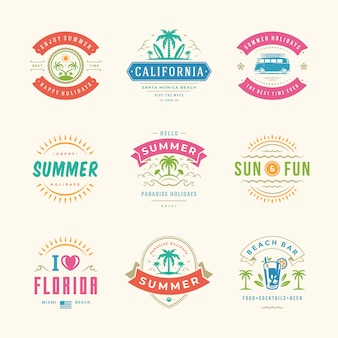 Summer holidays labels and logo set