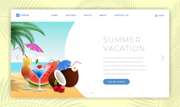 Summer holidays landing page template