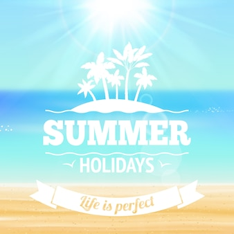 Summer holidays life is perfect lettering with palms sandy beach and sea vector illustration