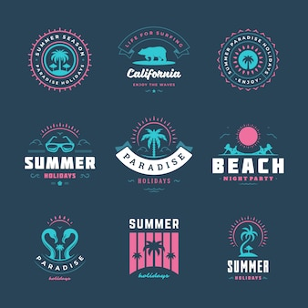 Summer holidays logo set