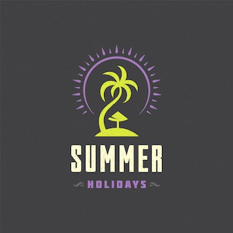 Summer holidays logo with typography slogan design