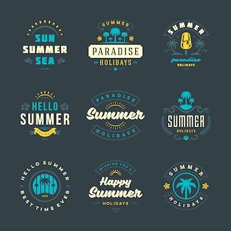Summer holidays logos and badges retro typography design set.