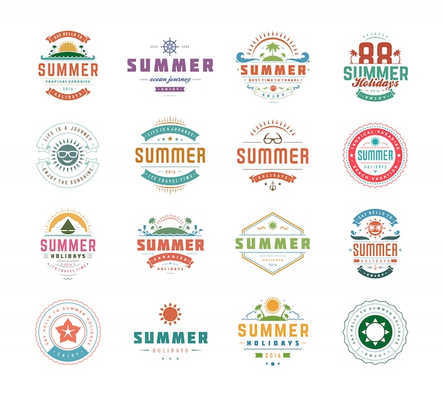 Summer holidays logos or badges set