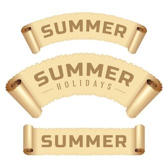 Summer holidays message on scroll paper ribbon vector illustration.