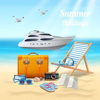 Summer holidays realistic beautiful composition