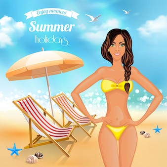 Summer holidays realistic poster