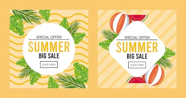 円形とダイヤモンドフレームの夏の休日販売ポスター