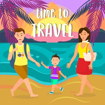 Summer holidays on sea resort vector postcard.