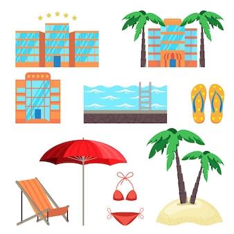 Летний отдых с пятизвездочным отелем, бассейном, пляжными тапочками, купальным костюмом, пальмами и приморскими аксессуарами, векторная иллюстрация