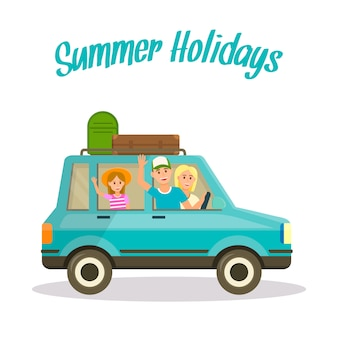 Summer holidays square . happy family by car