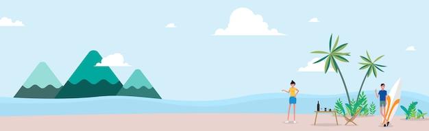 Летние каникулы. путешествия и люди концепции - улыбающиеся молодые друзья хиппи в машине минивэна на пляже.
