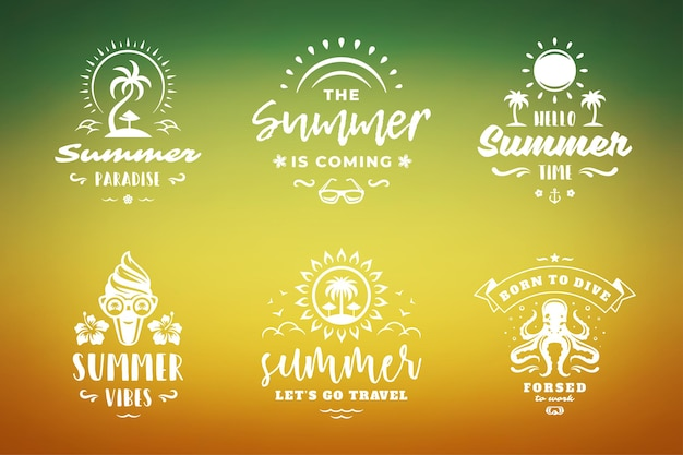 Summer holidays typography inspirational quotes or sayings design for t-shirts, mugs, greeting cards, photo overlays, decor prints and poster vector illustration. symbols and objects.