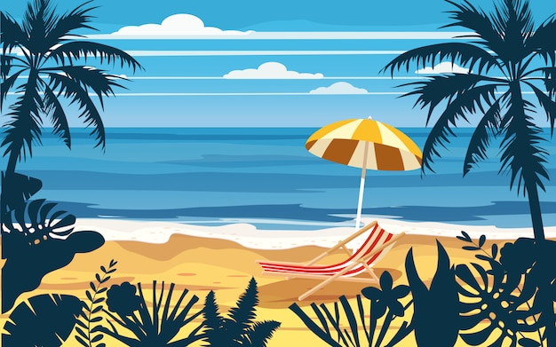 Summer holidays vacation umbrella beach chair seascape landscape ocean sea beach, coast, palm leaves