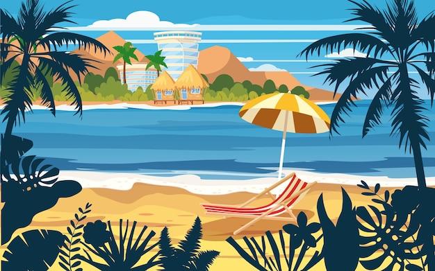 여름 방학 휴가 우산 비치 의자 바다 경치 바다 바다 해변 해안 야자수 잎