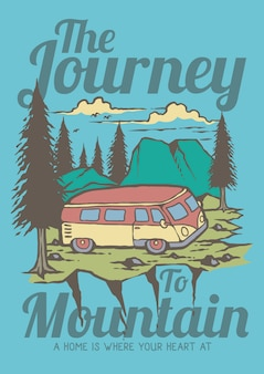 Summer holidays with caravan journey to the mountain and pines forest retro illustration