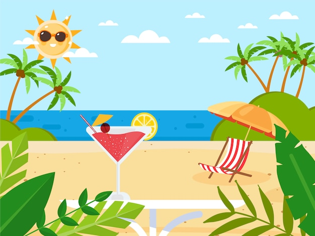 Summer holidays with cocktail