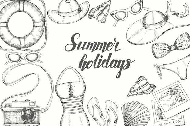 夏休みに手描き落書きヴィンテージオブジェクト。手書き