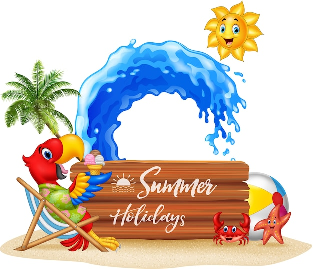 해변에서 편안한 잉 꼬와 여름 휴가