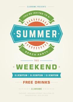 Летний праздник пляжная вечеринка типография плакат