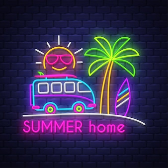 Summer home. neon sign lettering