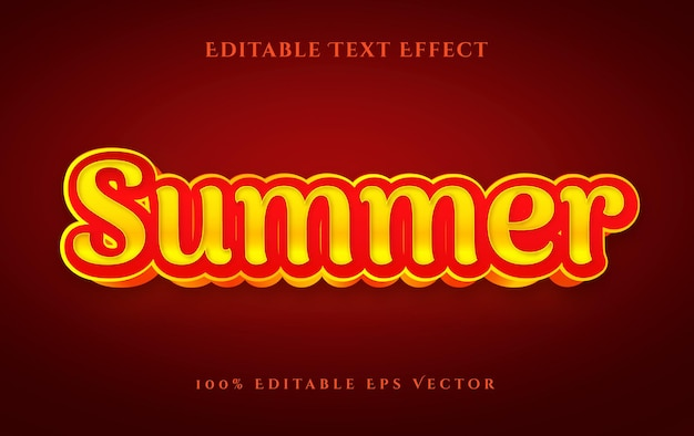 Summer hot 3d red yellow editable vector text effect style