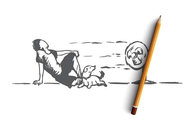 Summer, hot, man, dog concept. hand drawn man laying on floor with dog and enjoy cold wind from electric fan concept sketch.
