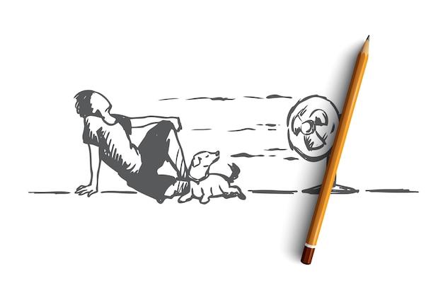 夏、暑い、男、犬のコンセプト。犬と一緒に床に横たわって、扇風機のコンセプトスケッチから冷たい風を楽しむ手描きの男。