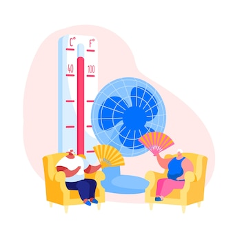 Summer hot period concept illustration