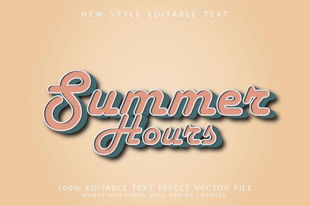 Летние часы редактируемый текстовый эффект с тиснением в винтажном стиле Premium векторы