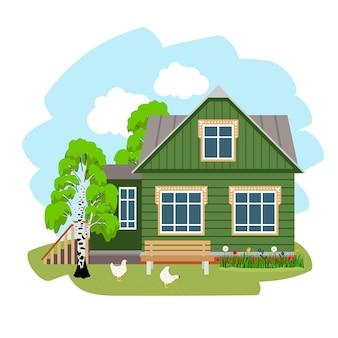 Летний дом в деревне. ферма в сельской местности, мультяшное место отдыха на природе в русском стиле, иллюстрация сельского деревенского жилья для отдыха изолированы