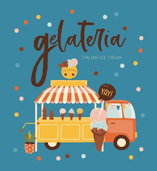 Summer ice cream bus illustration