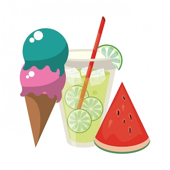 Summer ice cream juice and watermelon fruit cartoon