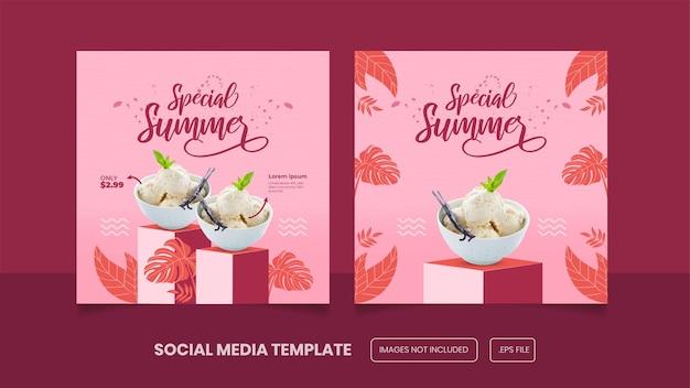 Сообщение в социальных сетях о летнем мороженом или премиум-баннер eps