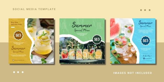Summer ice cream scoop food menu instagram post шаблон для социальных сетей