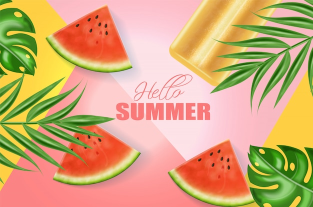 Summer ice cream and watermelon