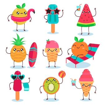 Summer ice creams characters set