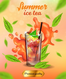 Summer ice tea banner, premium quality cold drink