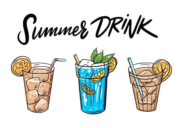夏のアイスティーセット。漫画フラットイラスト。白い背景で隔離。メニューカフェやバーのデザイン。