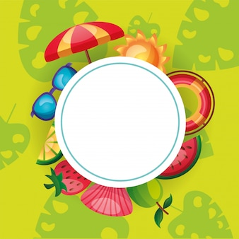 Summer icon set around circle vector design