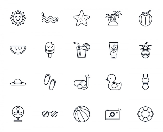 Summer icon set,summer holiday icon set.