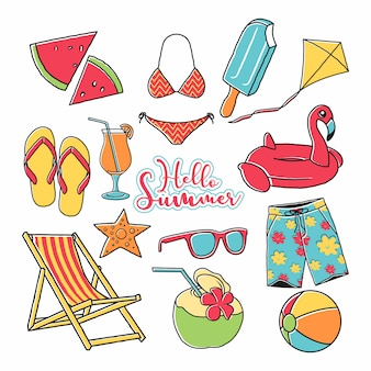 Summer icon vector hand drawn set