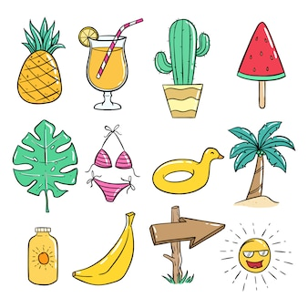 Summer icons collection with colored doodle style on white
