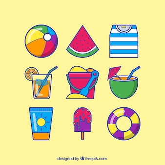 Summer icons in colorful style Free Vector