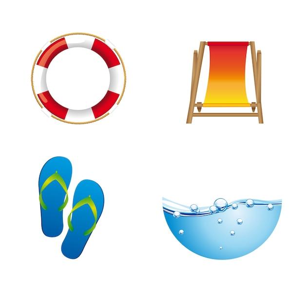 Summer icons float flip flops