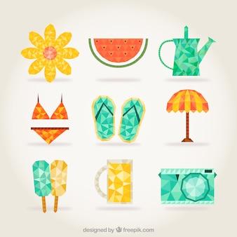 Icone di estate in stile poligonale