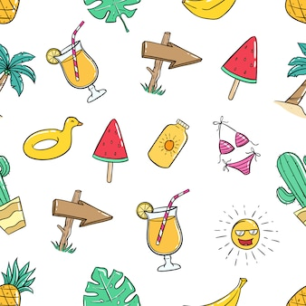 Summer icons in seamless pattern with colored doodle style