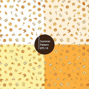 Summer icons seamless pattern