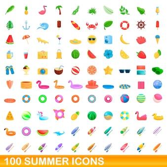 Набор летних иконок. карикатура иллюстрации летних иконок на белом фоне