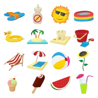 Summer icons set in cartoon style vector